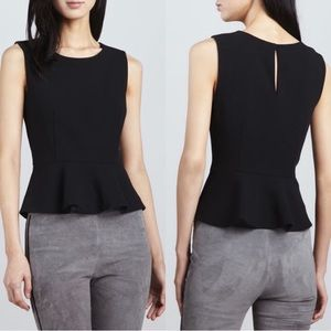Joie Black Wool Sleeveless Peplum Keyhole Tank Top